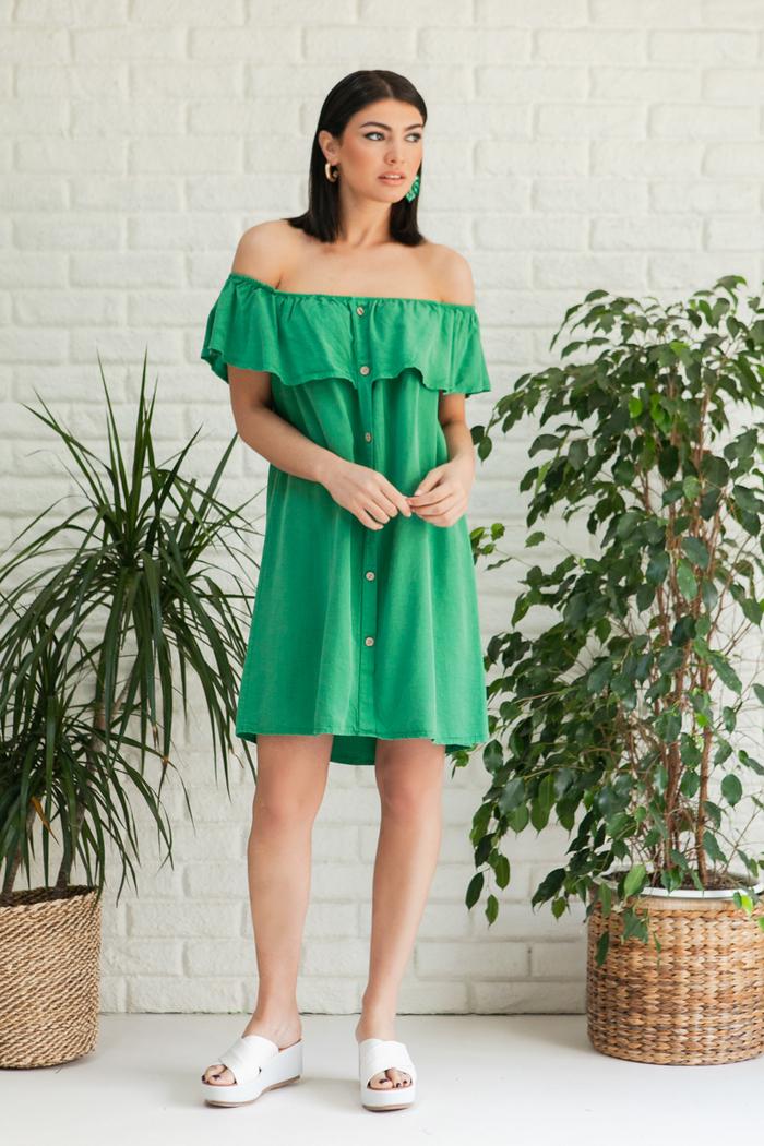 02dd347067e Φόρεμα πράσινο off shoulder με κουμπιά