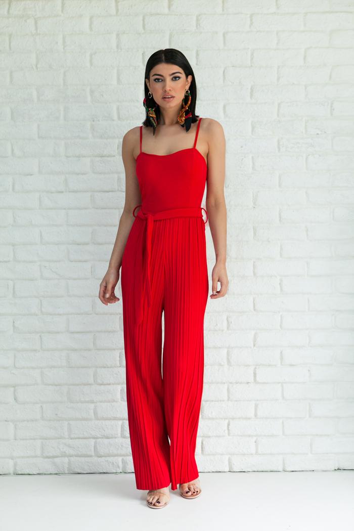 10fedba8bb8b Ολόσωμη φόρμα κόκκινη πλισέ