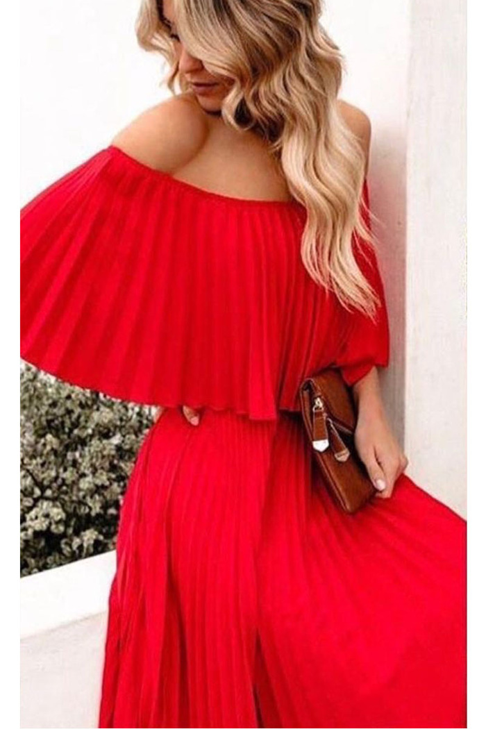 dc124c75338c Φόρεμα κόκκινο πλισέ off shoulder