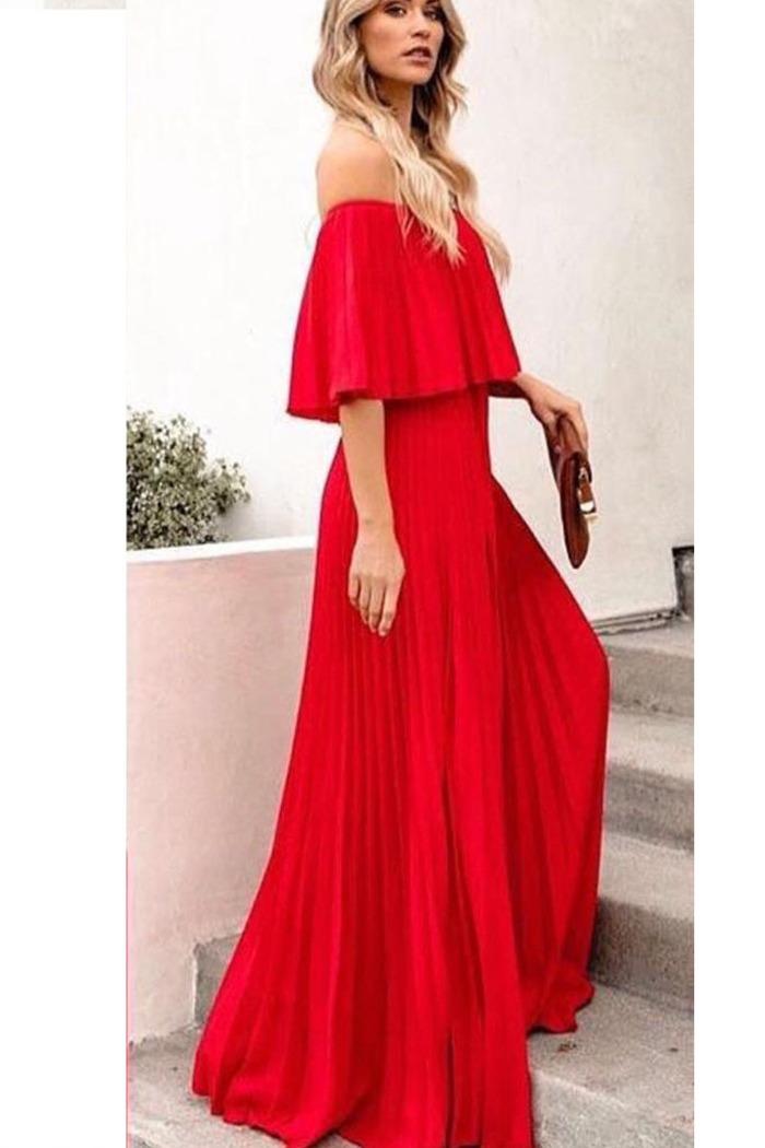 7405623de2f2 Φόρεμα κόκκινο πλισέ off shoulder
