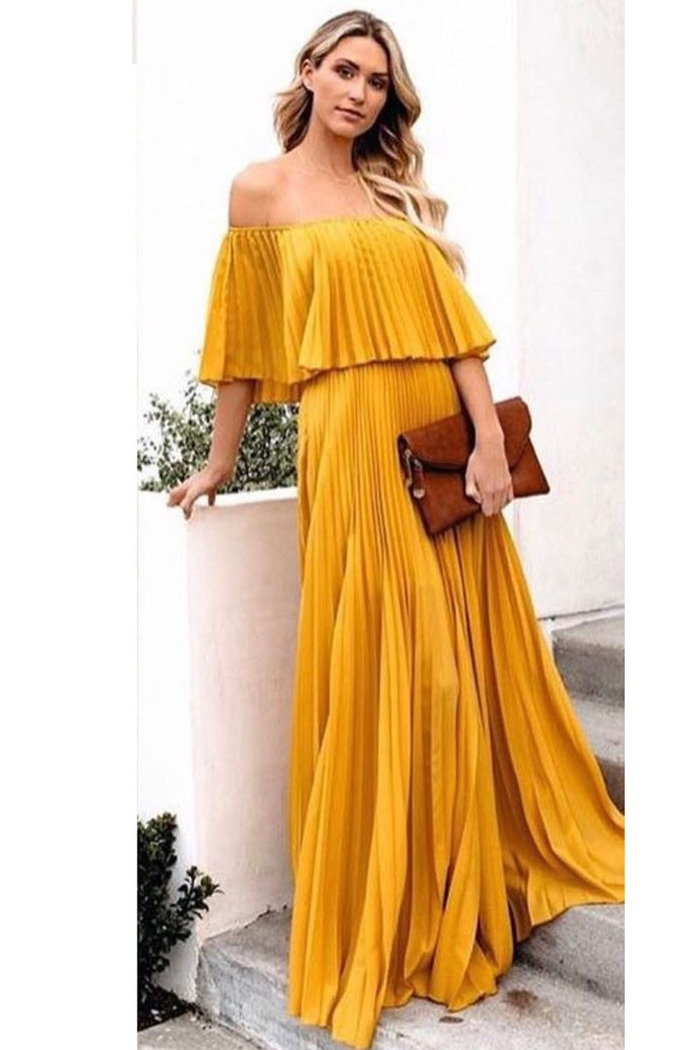 373701fed0d Φόρεμα μουσταρδί πλισέ off shoulder