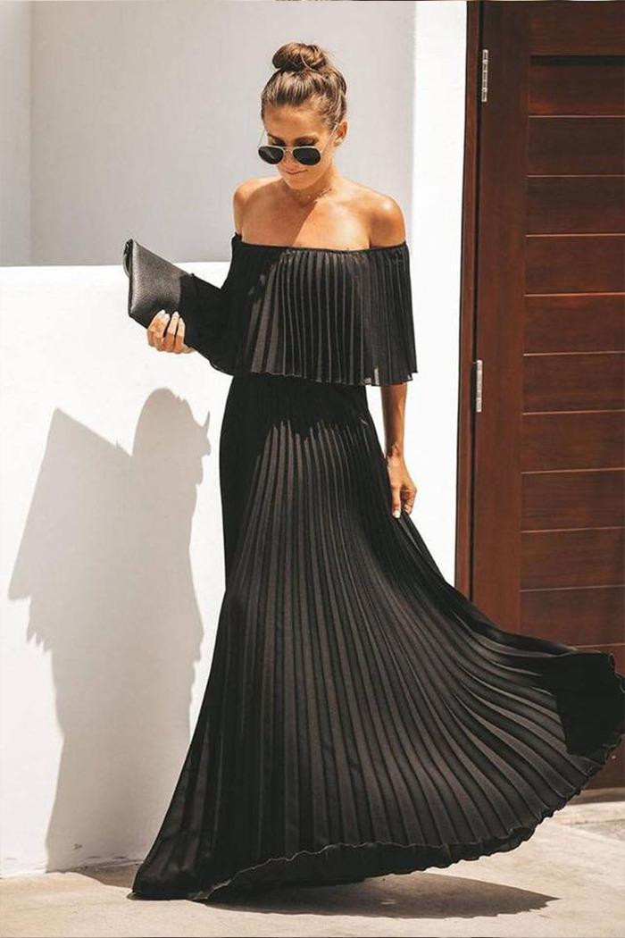 e321676fc29 Φόρεμα μαύρο πλισέ off shoulder