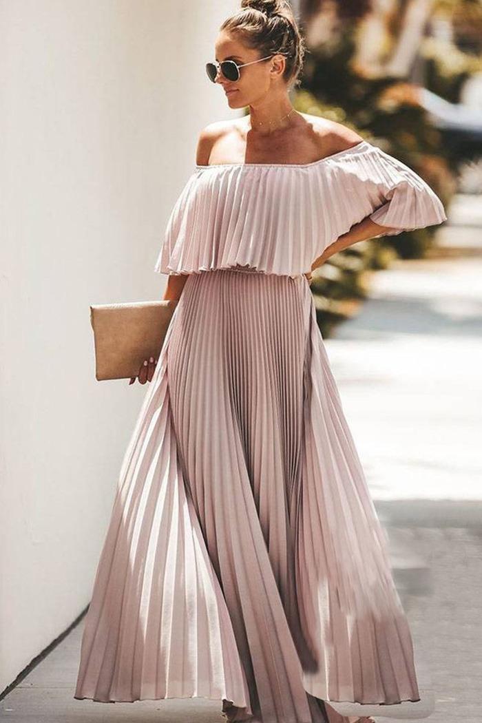 4432d69b38d Φόρεμα σομόν πλισέ off shoulder