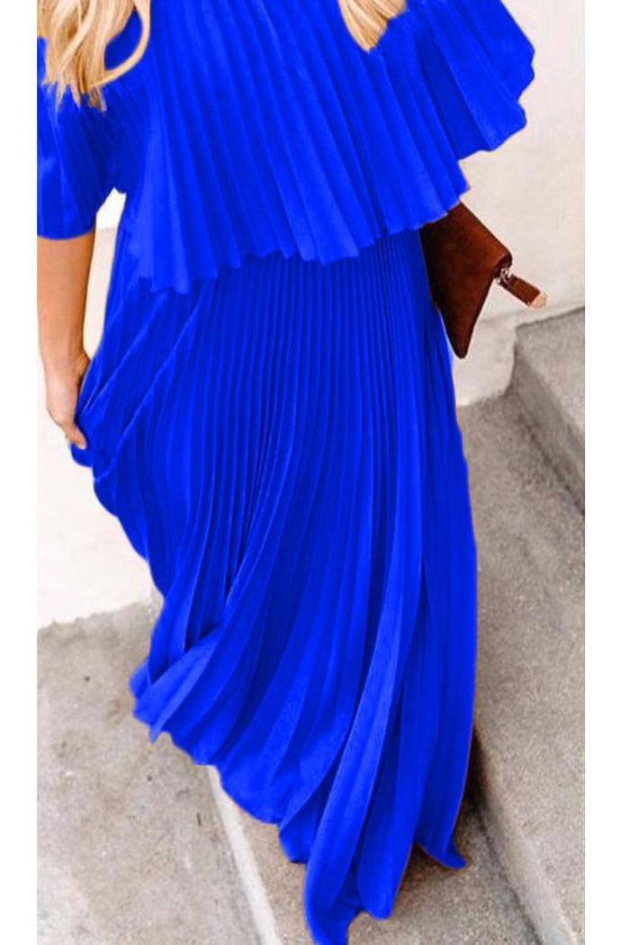 f44bace4f3d0 Φόρεμα μπλε ρουά πλισέ off shoulder