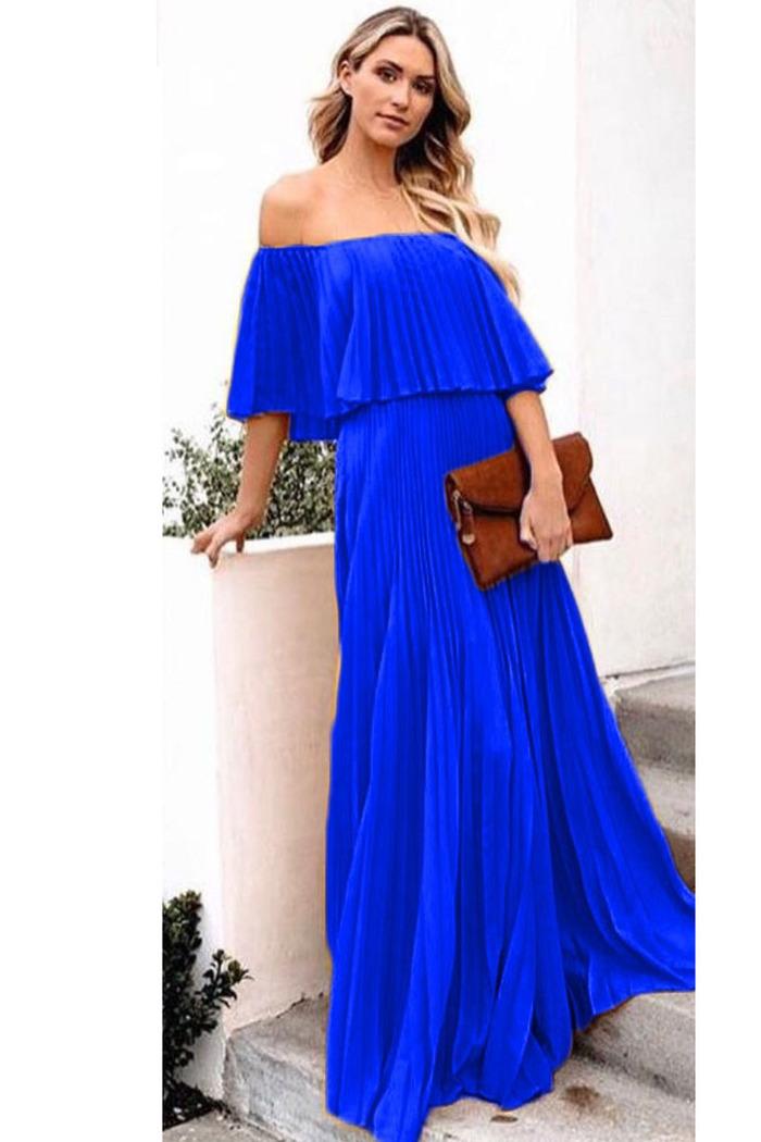 e388344d42f Φόρεμα μπλε ρουά πλισέ off shoulder