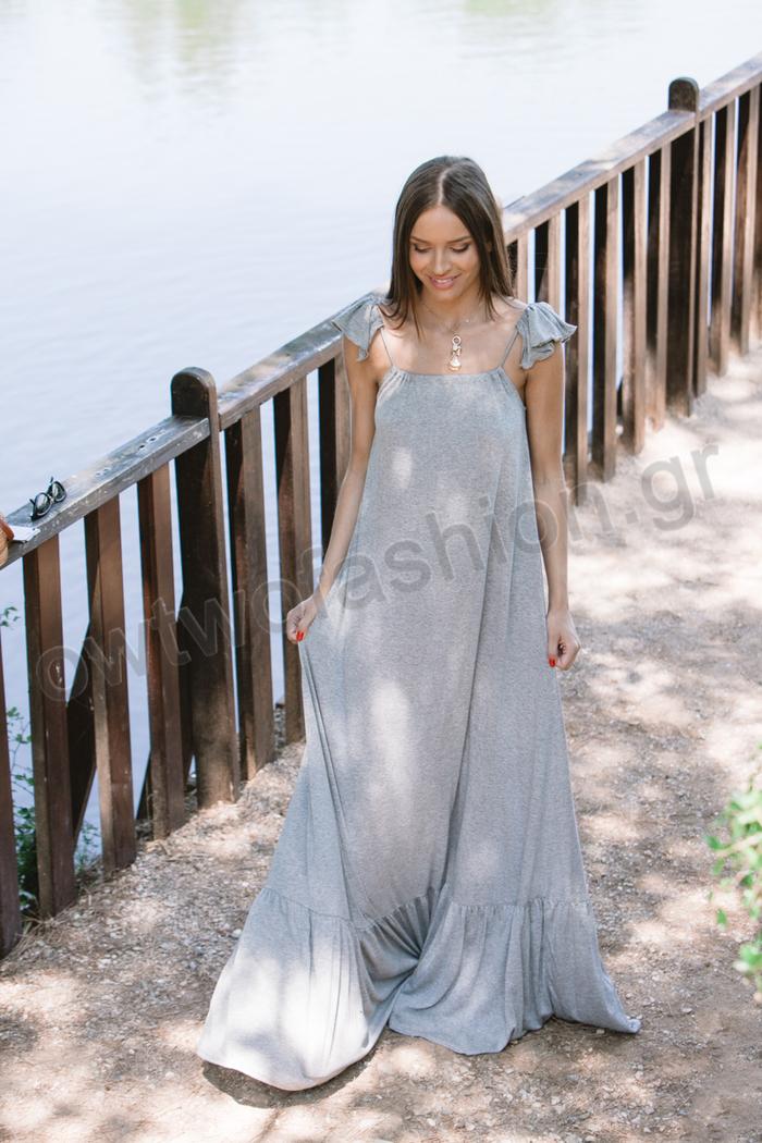 30bf3de61f84 Φόρεμα γκρι μακρύ με βολάν