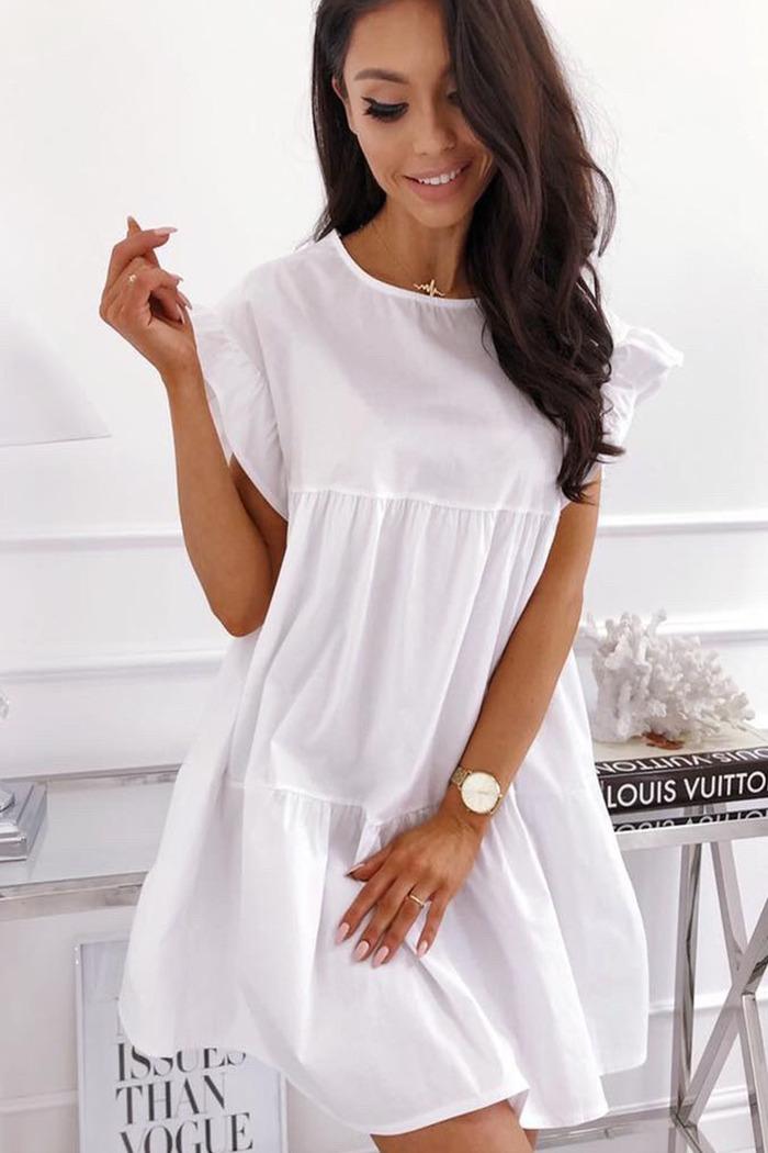 dda293032f3f Φόρεμα λευκό κοντομάνικο με βολάν