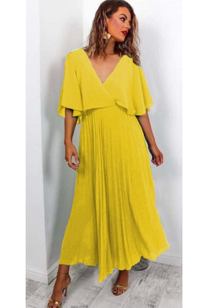 7a9a84473b8d Φόρεμα κίτρινο τούλινο πλισέ v-cut