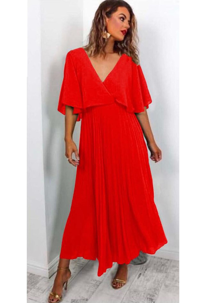 2e83280d0ee5 Φόρεμα κόκκινο τούλινο πλισέ v-cut