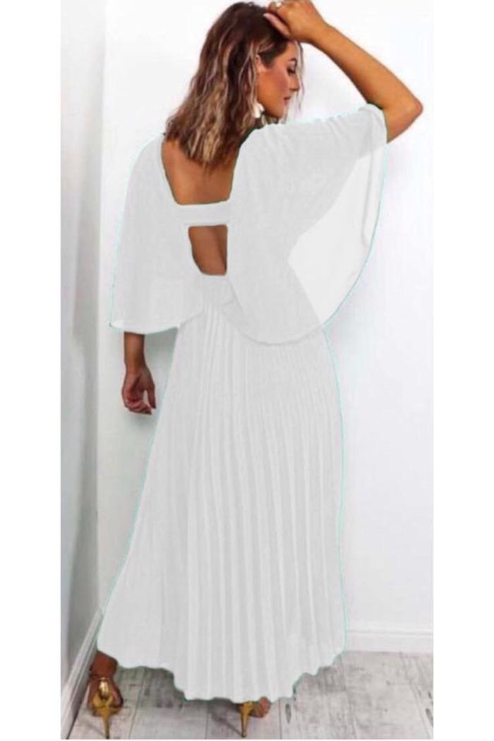 739256100155 Φόρεμα λευκό τούλινο πλισέ v-cut