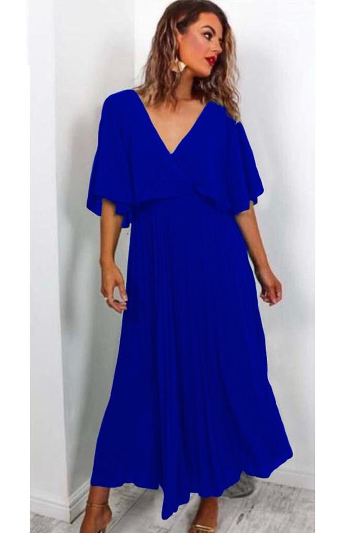 98267fe898f6 Φόρεμα μπλε ρουά τούλινο πλισέ v-cut