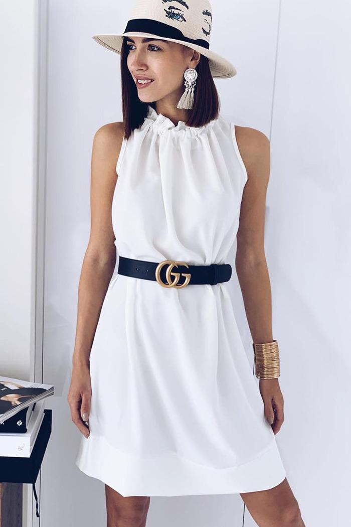 cd52cc3378f0 Φόρεμα λευκό αμάνικο