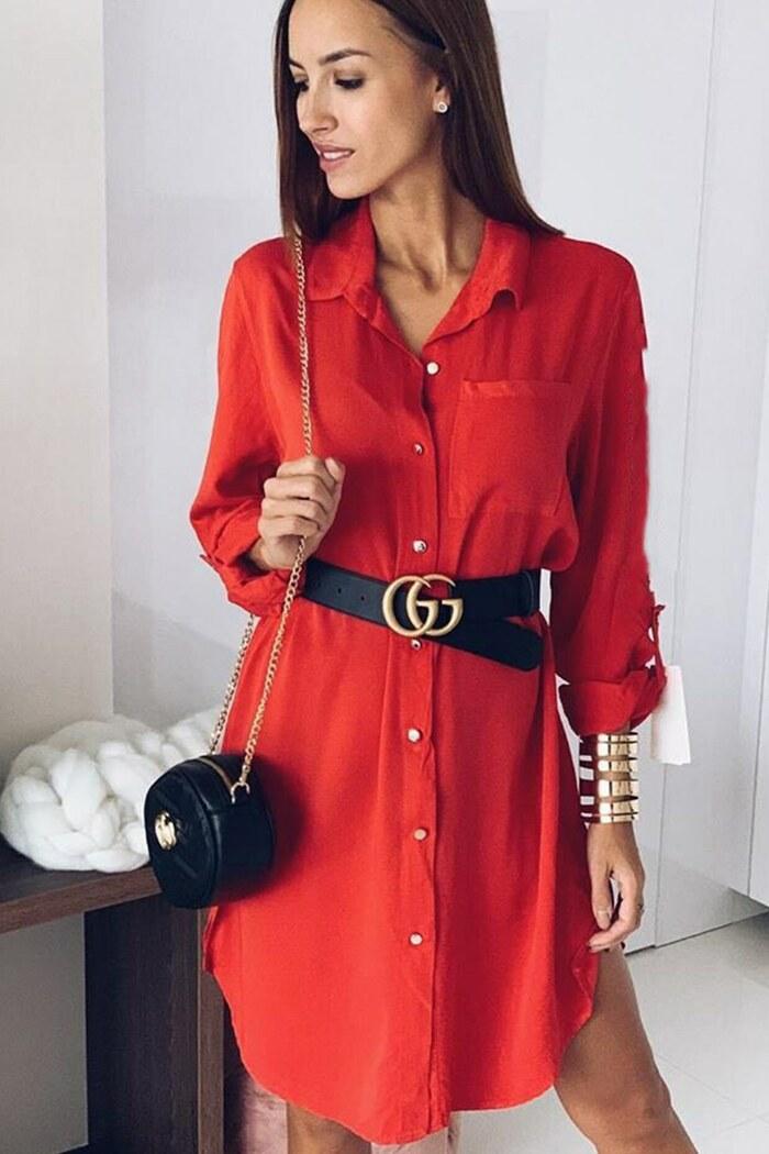 Φόρεμα κόκκινο με κουμπιά και τσέπη ... e276cc5f967