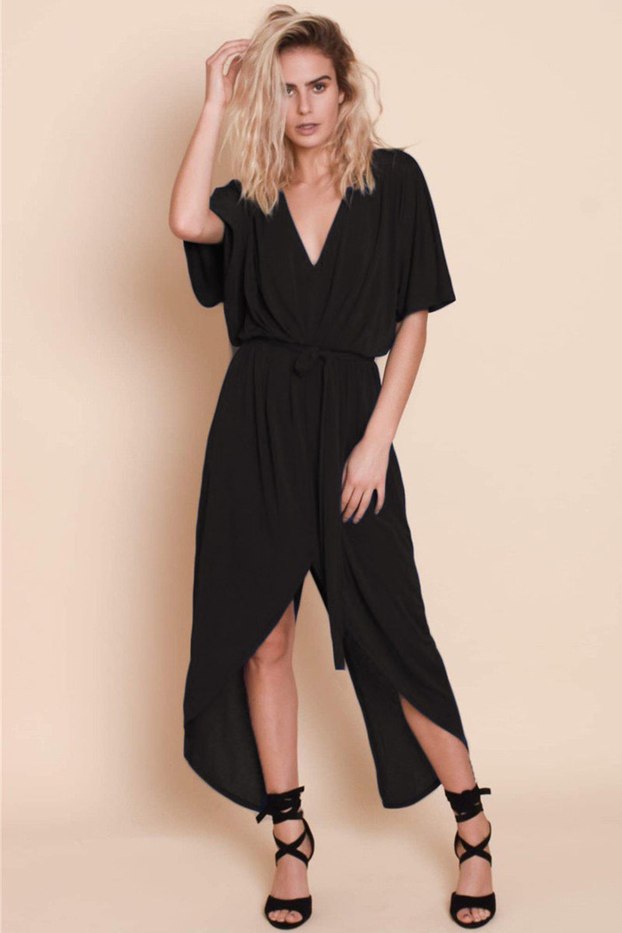 a9dfaea4e9ec Φόρεμα μαύρο v-cut με σκίσιμο