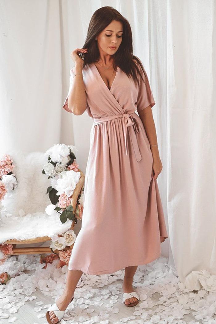 97b2c387e937 Φόρεμα σομόν v-cut με δέσιμο