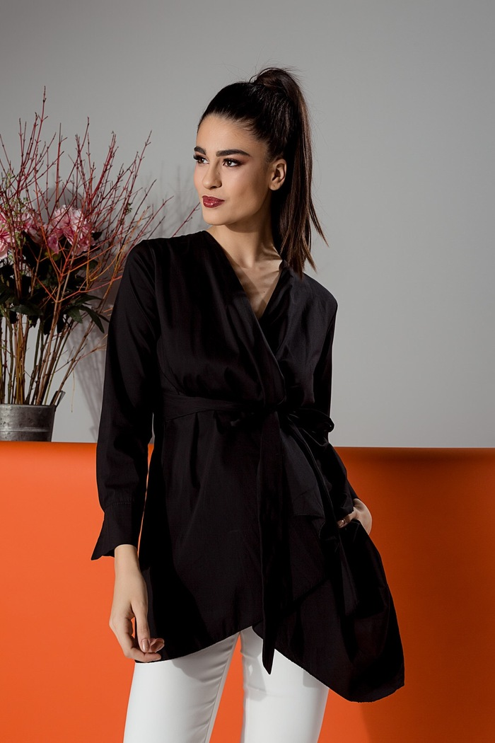 f2af758a1b13 Φόρεμα πουκάμισο μαύρο με δέσιμο στη μέση